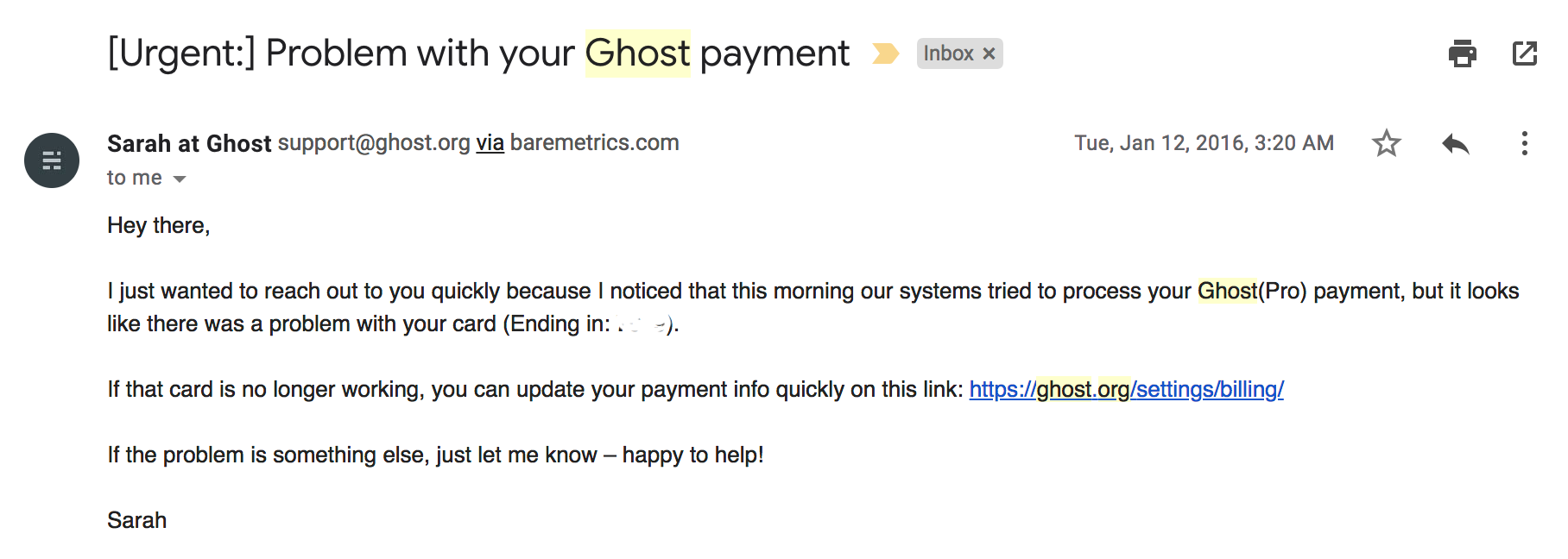 involuntary churn email from ghost