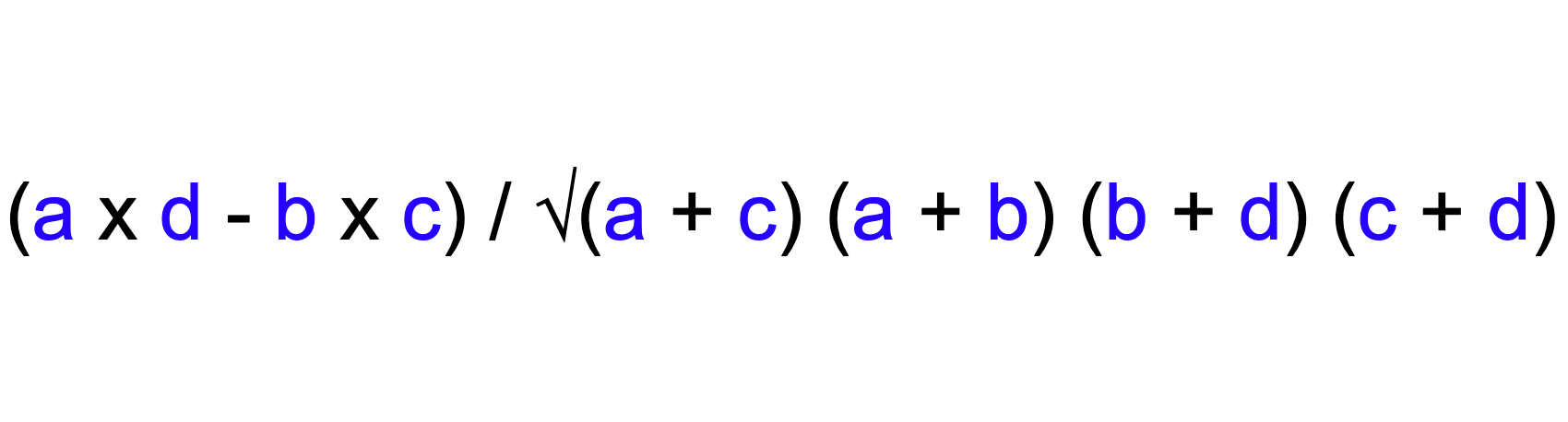 Formula to calculate Phi's correlation coefficient